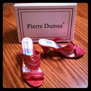 Pierre Dumas red heels with glitter and gems